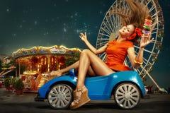 колесо вектора парка ночи ferris занятности стоковые фотографии rf