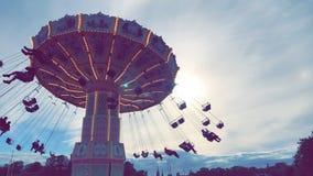 колесо вектора парка ночи ferris занятности Стоковая Фотография