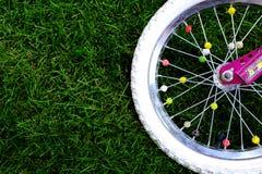 Колесо велосипеда на траве Стоковые Фото