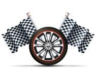 Колесо гонок с флагами бесплатная иллюстрация