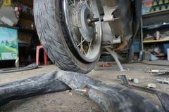 Колесо мотоцилк отладки заднее Стоковые Фотографии RF