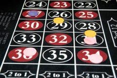 Колесо рулетки держа пари таблица Стоковое Изображение