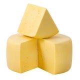 Колесо сыра и участок сыра на верхнем изолированный с Пэт клиппирования Стоковая Фотография