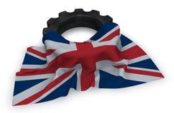 Колесо шестерни и флаг Великобритании Стоковая Фотография RF