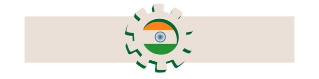 колесо cog 3D с флагом Индии Стоковая Фотография RF