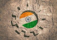 колесо cog 3D с флагом Индии Стоковые Изображения