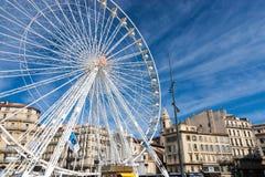 Колесо Ferris старой гавани марселя Стоковое Изображение