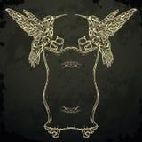 Колибри и ретро знамя ленты Приглашение, карточка, резервирование утиля футболка, сумка, открытка, плакат Татуировка ART Картина иллюстрация штока