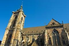 Коллигативная церковь St Martin, Кольмар, Эльзас, Франция Стоковые Фотографии RF