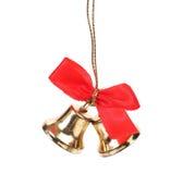 2 колокола рождества с красной лентой. Стоковая Фотография RF