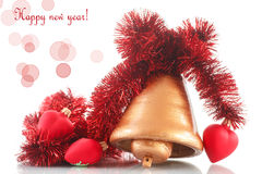 Колокол рождества с орнаментами рождества Стоковые Фото
