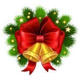 Колоколы рождества золотые с красными ветвями смычка и ели вектор Стоковые Изображения