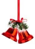 Колоколы рождества с красным смычком Стоковое Фото