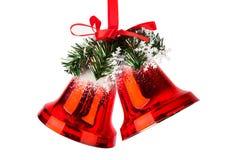 Колоколы рождества с красным смычком Стоковая Фотография