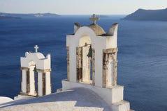 Колокольни известной церков в Santorini Стоковое Изображение RF