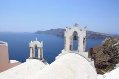 Колокольни часовни, Oia, Santorini Стоковая Фотография RF