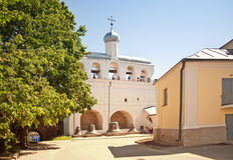 Колокольня собора Софии в Новгороде большом Стоковые Фото