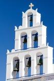 колокольня Panagia Platsani в Oia, Santorini Стоковая Фотография RF