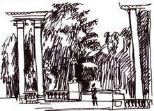 Колоннада в парке бесплатная иллюстрация