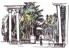 Колоннада в парке иллюстрация штока