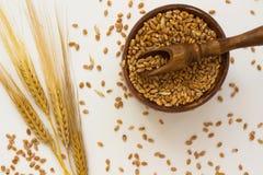 Колоски пшеницы, деревянные ложки, коробка с зерном пшеницы Стоковые Изображения RF