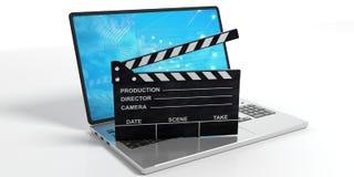 Колотушка кино на предпосылке белизны ноутбука иллюстрация 3d бесплатная иллюстрация
