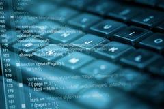 Код программы и клавиатура компьютера Стоковые Фотографии RF