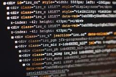 Код разработчика программного обеспечения программируя Абстрактный код сценария компьютера Селективный фокус Стоковое Фото