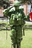 Колумбийские солдат и флаг в улице Боготы Стоковые Изображения RF