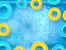 Кольца заплыва на бассейне Стоковые Изображения