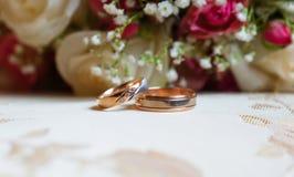 Кольца золота свадьбы на предпосылке красных роз Стоковое Изображение RF