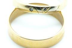 Кольца золота с диамантами Стоковое Изображение RF