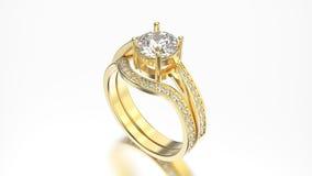 кольца диапазона желтого золота иллюстрации 3D соответствуя установленные с диамантом Стоковое Изображение