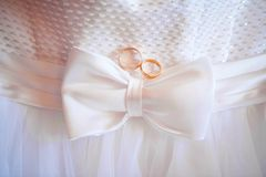 2 кольца и платья свадьбы смычок на талии Стоковое Изображение
