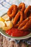 Кольца кальмара зажарили в конце-вверх крошек на плите с ketchu Стоковая Фотография