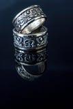 Кольца конца-вверх старые серебряные Стоковая Фотография