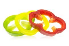 Кольца красных, зеленых и желтых перцев Стоковое Изображение RF