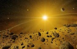 Кольцо астероидов вокруг звезды иллюстрация вектора