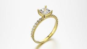 кольцо желтого золота иллюстрации 3D с диамантами Стоковые Изображения