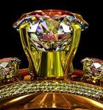 Кольцо золота захвата с самоцветом ювелирных изделий Стоковое Фото