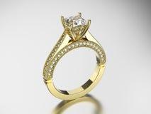 кольцо золота иллюстрации 3D с диамантами Стоковая Фотография RF