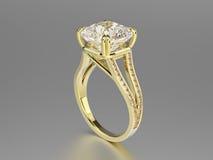 кольцо золота иллюстрации 3D с диамантами Стоковые Фотографии RF