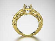 кольцо золота иллюстрации 3D с диамантами Стоковое Изображение RF