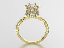 кольцо золота иллюстрации 3D с диамантами Стоковое Фото