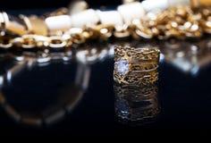 Кольцо золота с диамантом Стоковые Фото