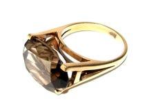 Кольцо золота с драгоценной камнем Стоковое Изображение