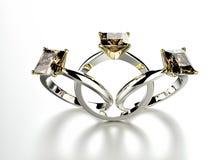 кольцо диаманта золотистое серебр ювелирных изделий золота ткани предпосылки черный Стоковые Фотографии RF