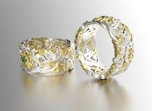 кольцо диаманта золотистое серебр ювелирных изделий золота ткани предпосылки черный Стоковые Фото