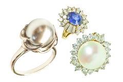 Кольцо и кольца с бриллиантом жемчуга Стоковое Изображение