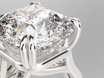 кольцо серебра золота макроса сигнала иллюстрации 3D с диамантами Стоковая Фотография RF